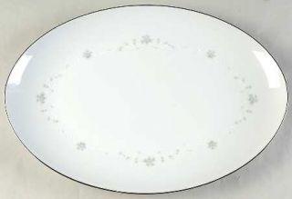 Sango Julie 16 Oval Serving Platter, Fine China Dinnerware   Gray Roses,White S