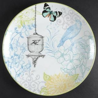 222 Fifth (PTS) Bergerac Blue Dinner Plate, Fine China Dinnerware   Yellow Flora