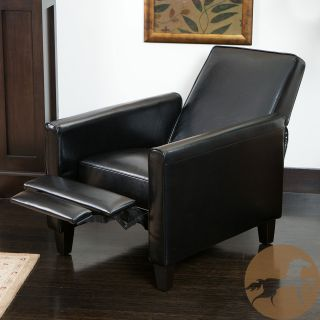 Christopher Knight Home Darvis Black Leather Recliner Club Chair (BlackSome assembly requiredSturdy constructionNeutral colors to match any decorEnjoy the duel function that features both a foot extension as well as a reclining backSolid frame and sturdy