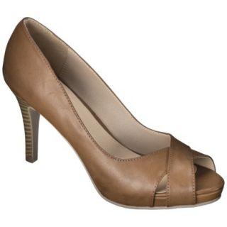 Womens Xhilaration Angela Peep Toe Pump   Cognac 5.5