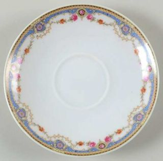 Crown China (Czech) 7143 Saucer, Fine China Dinnerware   Blue Band,Scrolls,Rose