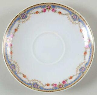 Crown China (Czech) 7143 Saucer, Fine China Dinnerware   Blue Band,Scrolls,Rose