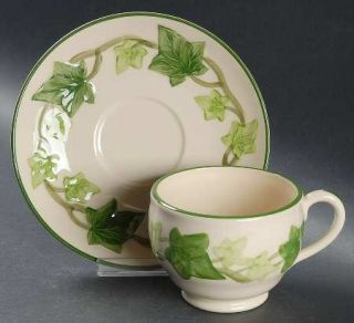 Franciscan Ivy (American) Footed Cup & Saucer Set, Fine China Dinnerware   Ameri