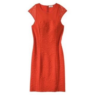 AMBAR Womens Textured Ponte w/Mesh Dress   Red Hot Lips XS