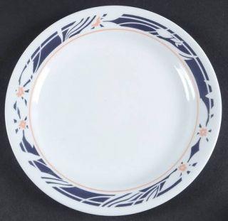 Corning Nocturne Salad Plate, Fine China Dinnerware   Corelle,Black Rim W/ White