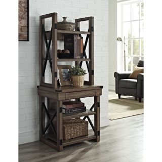 Wildwood Rustic Audio Pier Metal Frame Bookcase