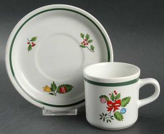 International Noel (Band 1/4 From Edge) Flat Cup & Saucer Set, Fine China Dinne