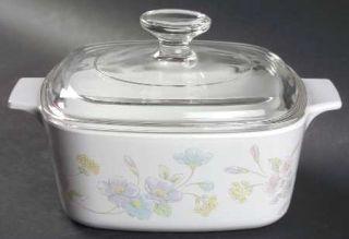 Corning Pastel Bouquet 1.5 Qt Sq. Cov. Casserole W/Glass Or Plastic Lid, Fine Ch