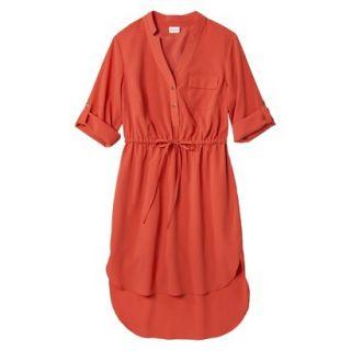 Merona Womens Drawstring Shirt Dress   Orange   XXL