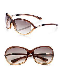 Tom Ford Eyewear Jennifer Plastic Soft Wrap Sunglasses   Dark Brown