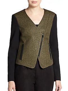 Metallic Tweed Moto Jacket   Olive