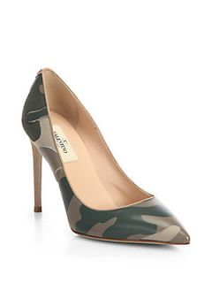Valentino Camouflage Leather Pumps   Safari