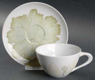 Dorothy Thorpe Magnolia Flat Cup & Saucer Set, Fine China Dinnerware   Magnolia