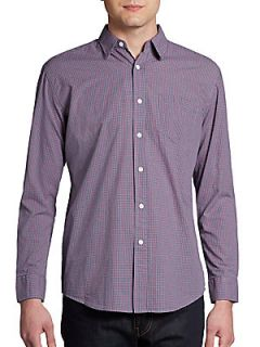 Checked Woven Cotton Shirt/Slim Fit   Purple