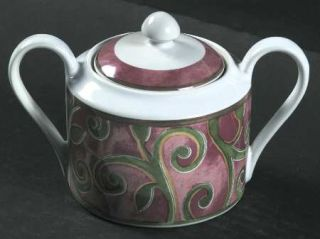 Interiors (PTS) Catalina Sugar Bowl & Lid, Fine China Dinnerware   Stoneware, Br