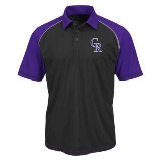 MLB Mens Colorado Rockies Synthetic Polo T Shirt   Black/Purple (M)