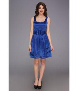 Donna Morgan Scoop Neck Full Skirt Dress w/ Bow Belt Womens Dress (Blue)