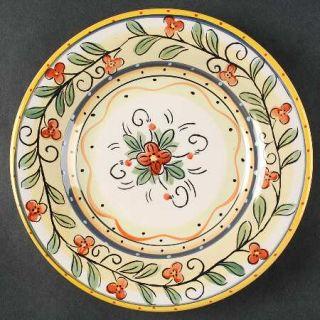 Philippe Richard Italia Salad Plate, Fine China Dinnerware   Red Floral,Yellow&G