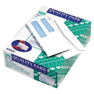 Quality Park Double Window Security Tinted Check Envelope, #8   White (500 Per
