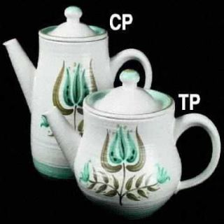 Franciscan Tulip Time Teapot & Lid, Fine China Dinnerware   Blue/Green Tulip, Bl