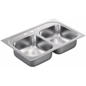 Moen G202593 2000 Series Stainless steel 20 gauge double bowl sink