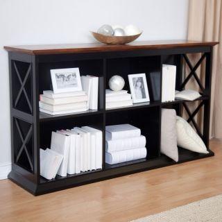 Hayneedle Belham Living Hampton Console Table Stackable Bookcase   Black/Oak