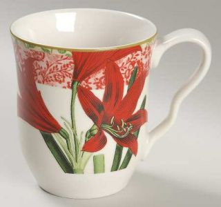 222 Fifth (PTS) Holiday Decoupage Mug, Fine China Dinnerware   Floral,Pinecones,