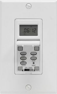 GE 15086 Timer, 15A 7Day Indoor InWall Programmable Digital Light Timer White