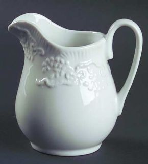 American Living Meredith Creamer, Fine China Dinnerware   All White,Floral&Bead