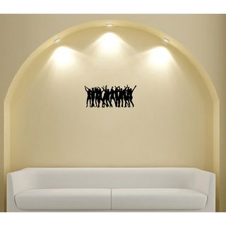 People Dancing Silhouette Wall Vinyl Decal (Glossy blackDimensions 25 inches wide x 35 inches long )