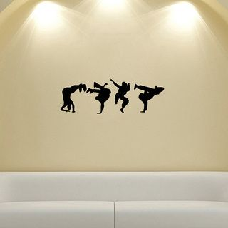 Guys Dancing Break Dance Silhouette Wall Vinyl Decal (Glossy blackDimensions 25 inches wide x 35 inches long )