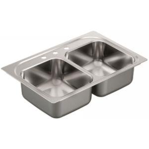 Moen G182133 1800 Series Stainless steel 18 gauge double bowl drop in sink
