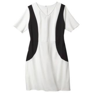Merona Womens Plus Size V Neck Colorblock Ponte Dress   Cream/Black 4