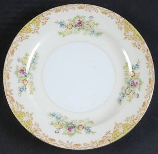 Royal Derby (Japan) Rdb1 Salad Plate, Fine China Dinnerware   Tan & Green Border