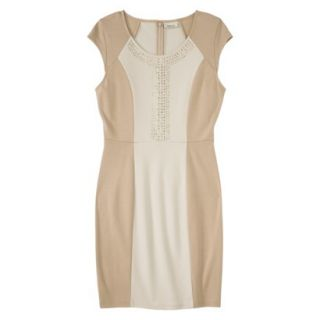AMBAR Womens Ponte Dress w/ Studs   Honey XS