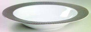 Interiors (PTS) Midnight Large Rim Soup Bowl, Fine China Dinnerware   Black & Pl