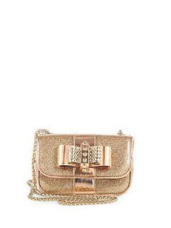 Christian Louboutin Sweet Charity Glitter Mini Shoulder Bag   Gold
