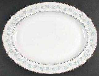 Royal Doulton Lyric 16 Oval Serving Platter, Fine China Dinnerware   Blue Leave