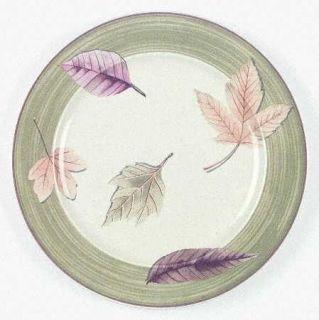 Mikasa Leaf Lyric Dinner Plate, Fine China Dinnerware   Green Rim,Yellow    Brow