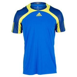 Adidas Men`s Adipower Barricade Tennis Crew Tee Blue and Yellow Xsmall Blue