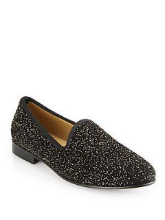 Del Toro Gold Fleck Suede Slippers   Black  Del Toro Shoes