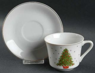 George Good Christmas Tree (Smooth) Flat Cup & Saucer Set, Fine China Dinnerware