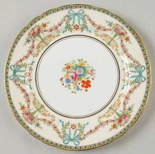 John Aynsley Rosedale (Bows, Flowers On Edge) Salad Plate, Fine China Dinnerware