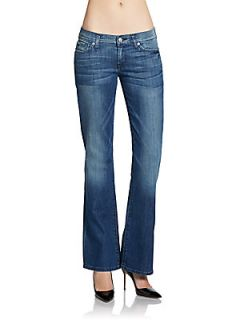 Faded Vintage Wash Bootcut Jeans   Dust Blue