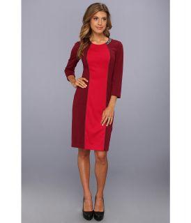 Donna Morgan Jewel Neck Colorblock Shift Dress w/ Leather Detail Womens Dress (Multi)