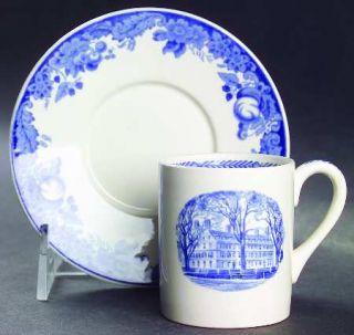 Wedgwood Harvard University Blue Flat Demitasse Cup & Saucer Set, Fine China Din