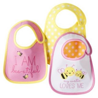 Just One YouMade by Carters Newborn Girls 3 Pack Bee Bib Set   Pink/Yellow
