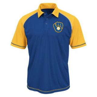 MLB Mens Milwaukee Brewers Synthetic Polo T Shirt   Blue/Yellow (S)