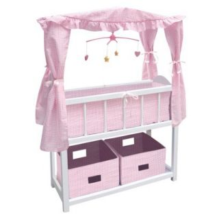 Badger Basket Doll Canopy Crib with Mobile & Storage Bins