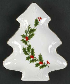 All the Trimmings Christmas Holly (Porcelain) 1 Part Small Tree Shaped Dish, Fin